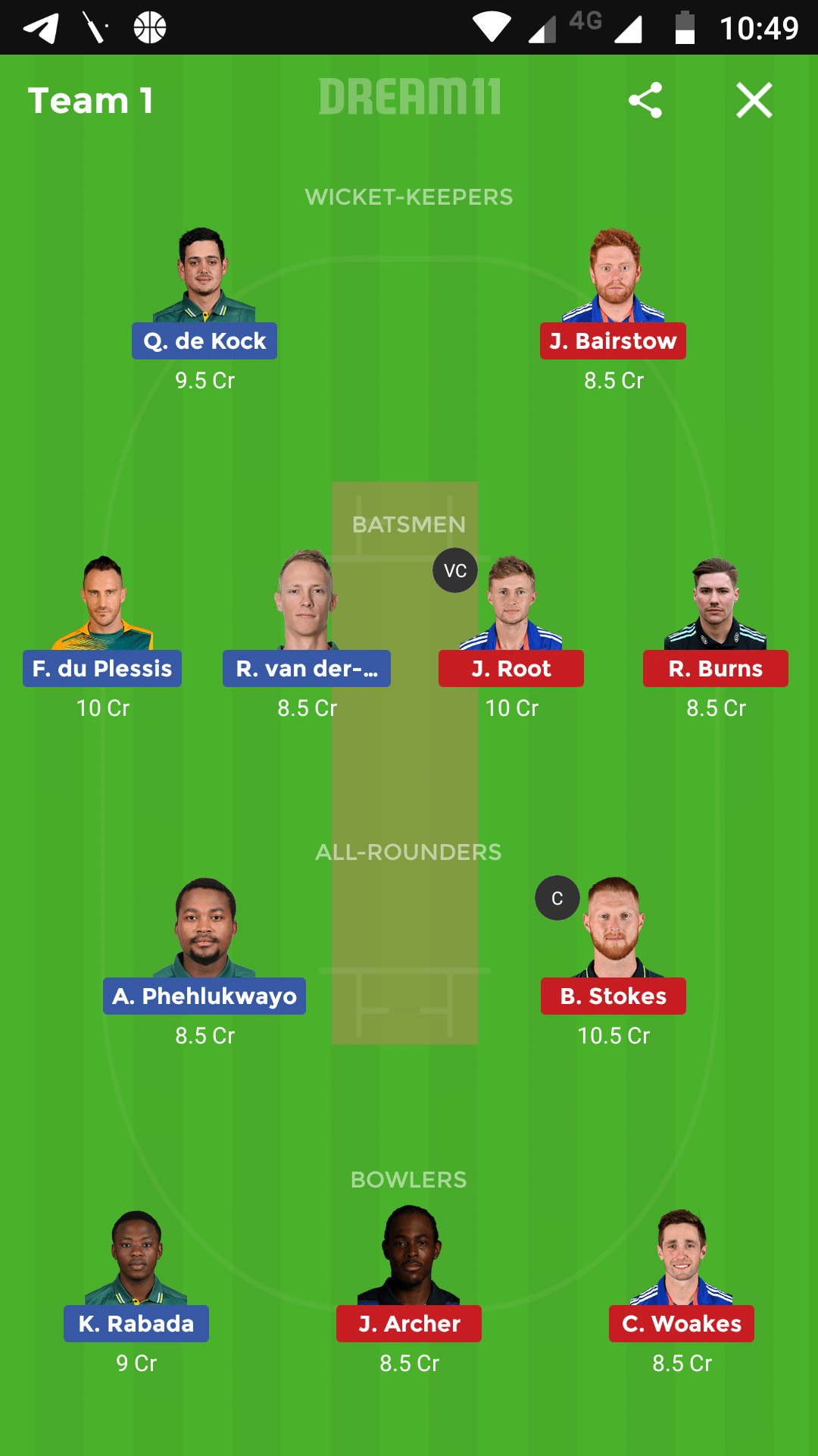 South Africa vs England 1st Test Dream11